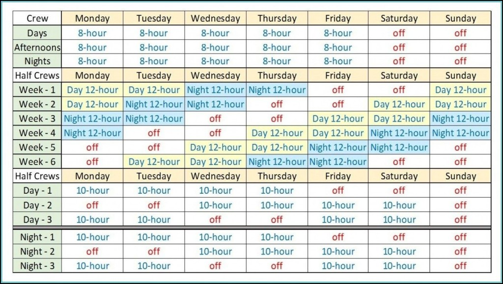007 Top 12 Hour Rotating Shift Schedule Example Design  ExamplesLarge