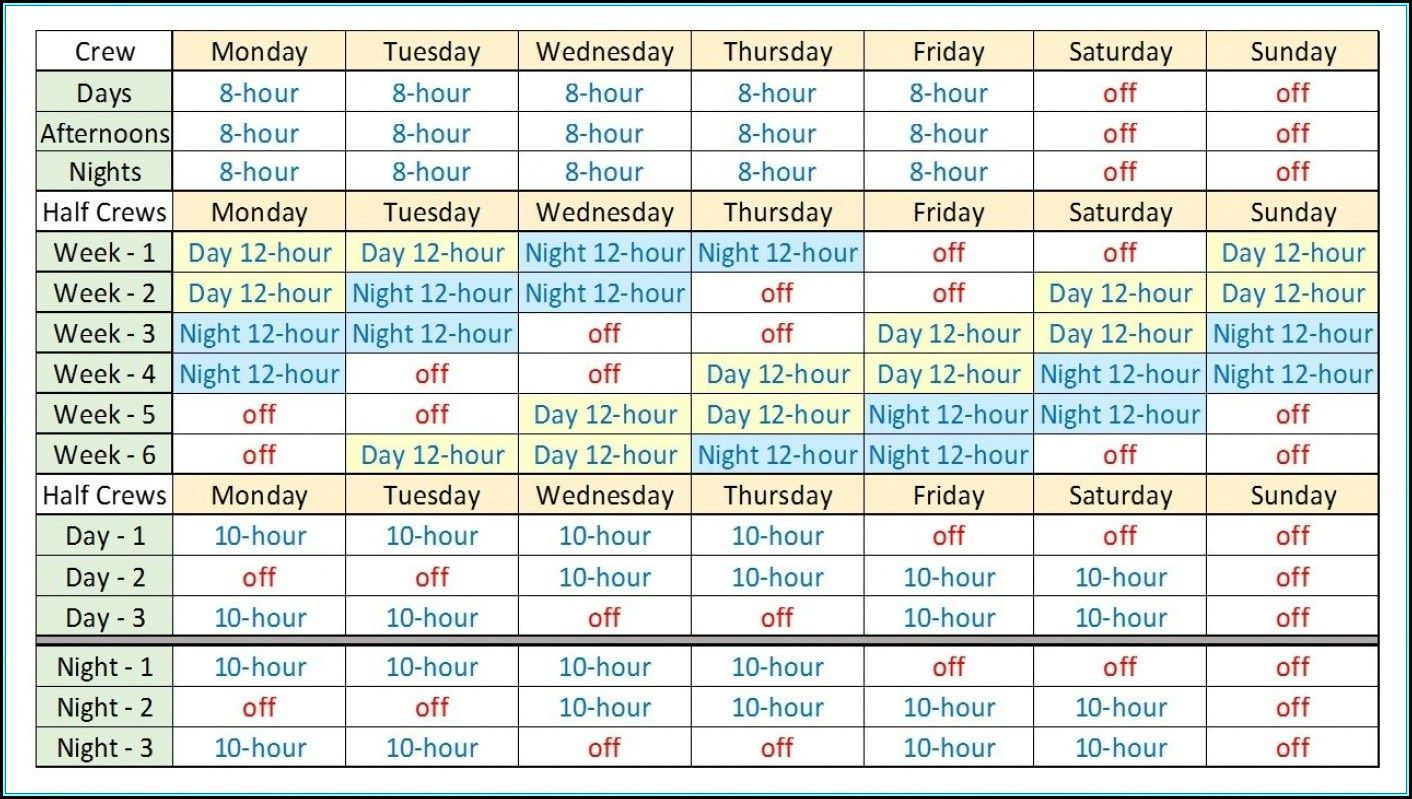 007 Top 12 Hour Rotating Shift Schedule Example Design  ExamplesFull