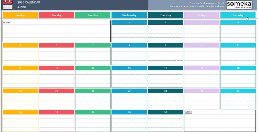 007 Top Calendar 2020 Template Excel Sample  Monthly Free Uk In Format DownloadLarge