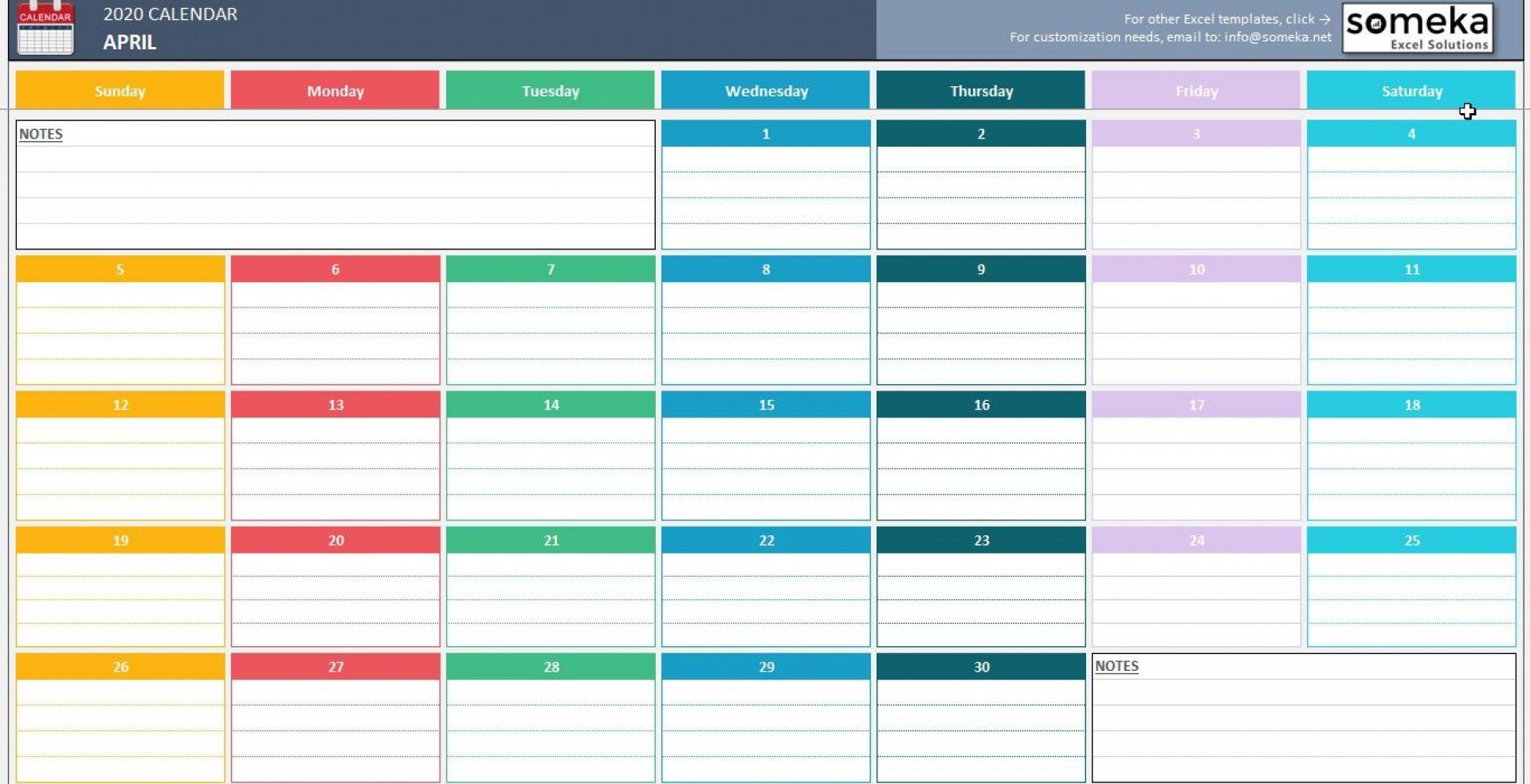 007 Top Calendar 2020 Template Excel Sample  Monthly Free Uk In Format Download1920