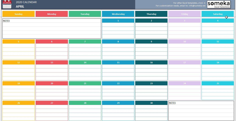 007 Top Calendar 2020 Template Excel Sample  Monthly Free Uk In Format DownloadFull
