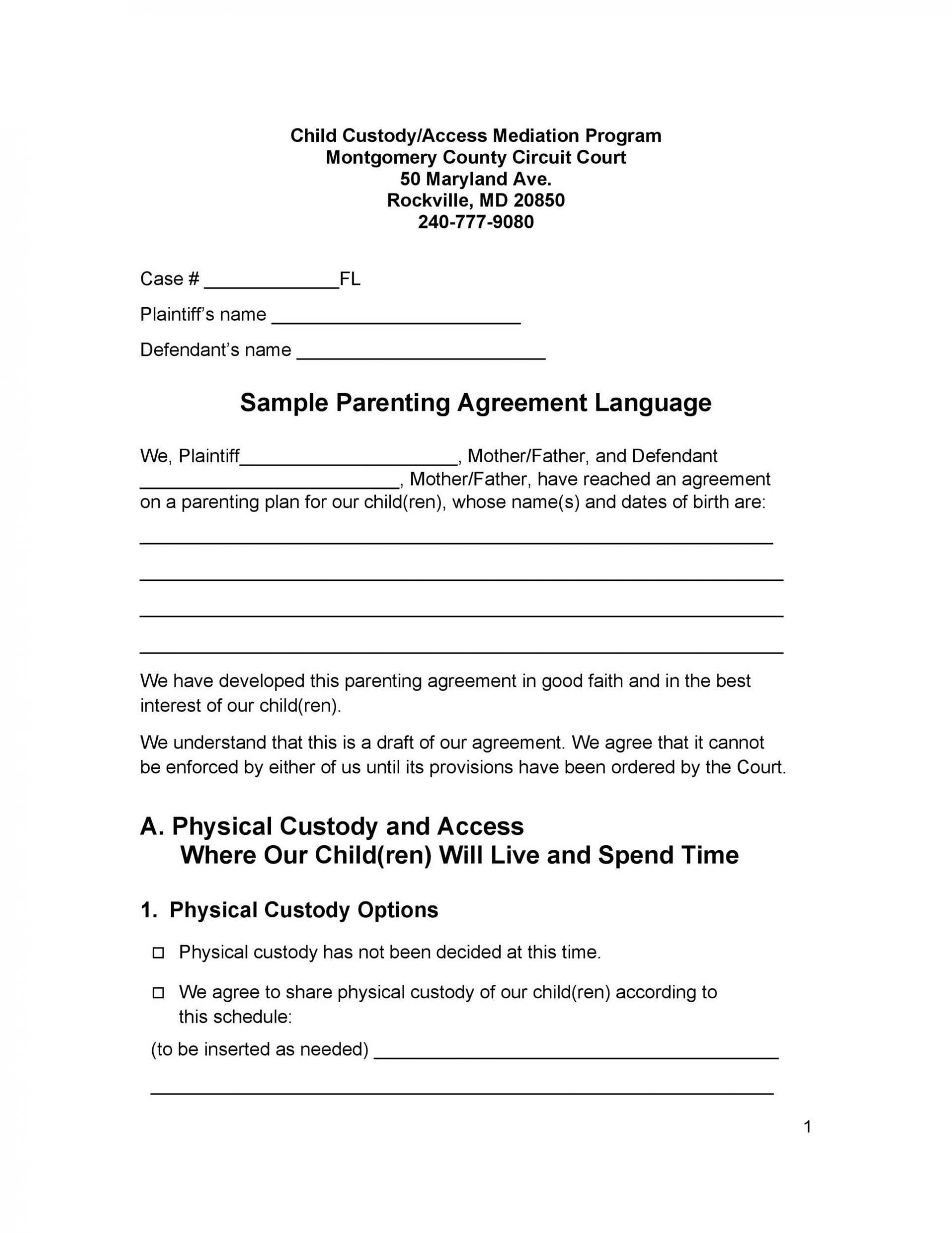 007 Top Child Custody Agreement Template High Definition  Texa Nc Visitation Uk1920