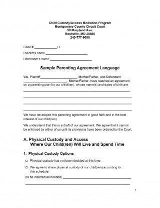 007 Top Child Custody Agreement Template High Definition  Texa Nc Visitation Uk320