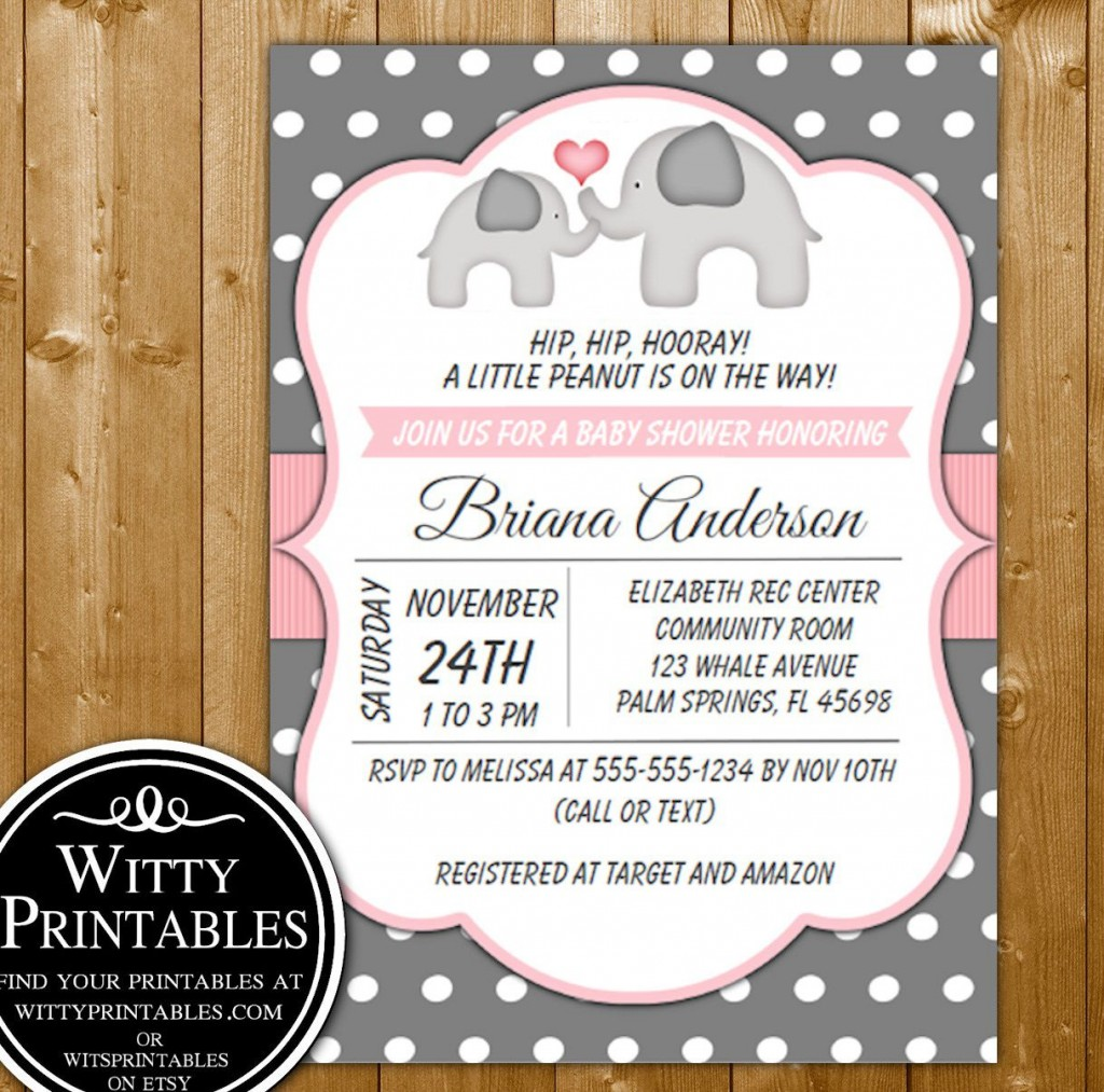007 Top Elephant Baby Shower Invitation Girl Pink High Def Large