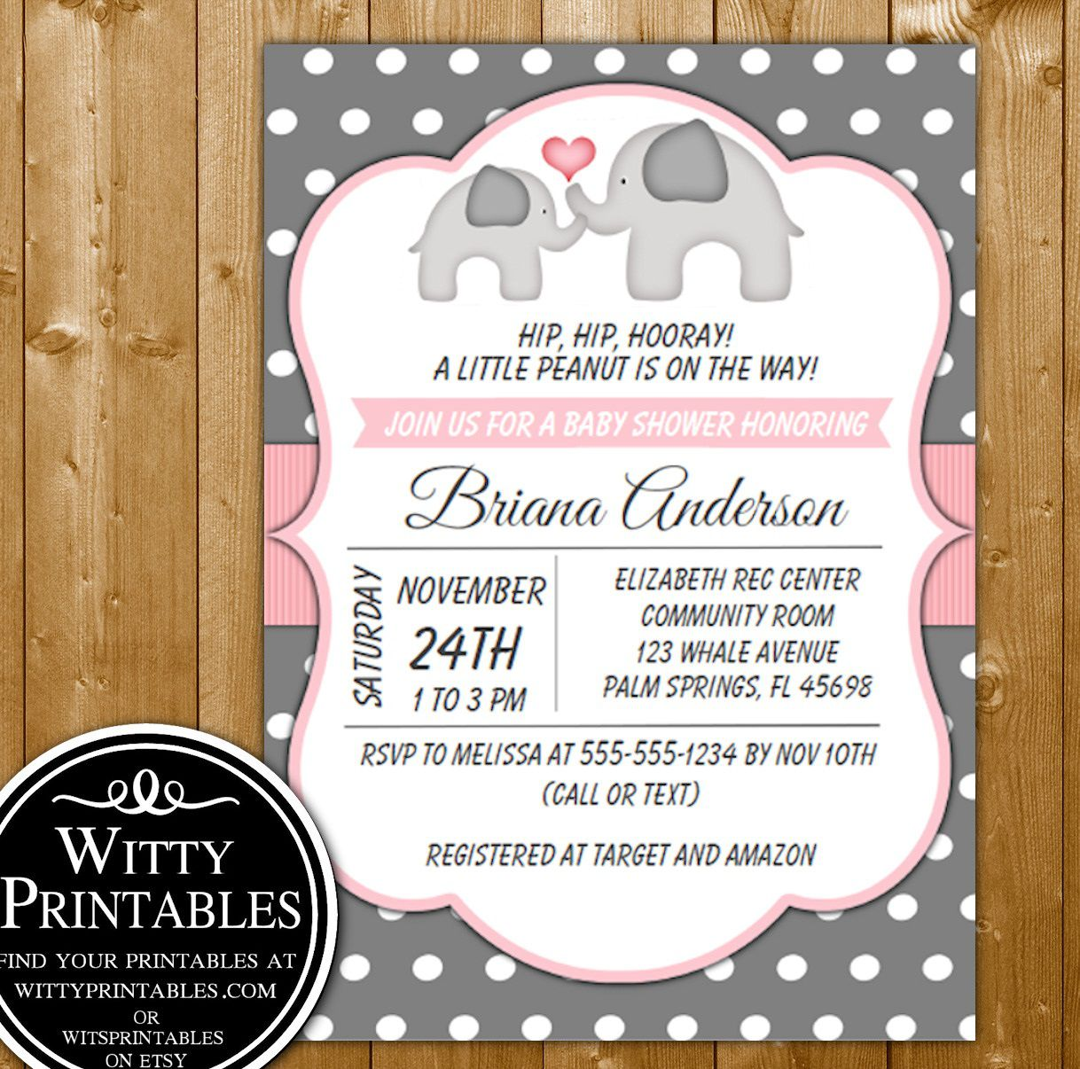 007 Top Elephant Baby Shower Invitation Girl Pink High Def Full