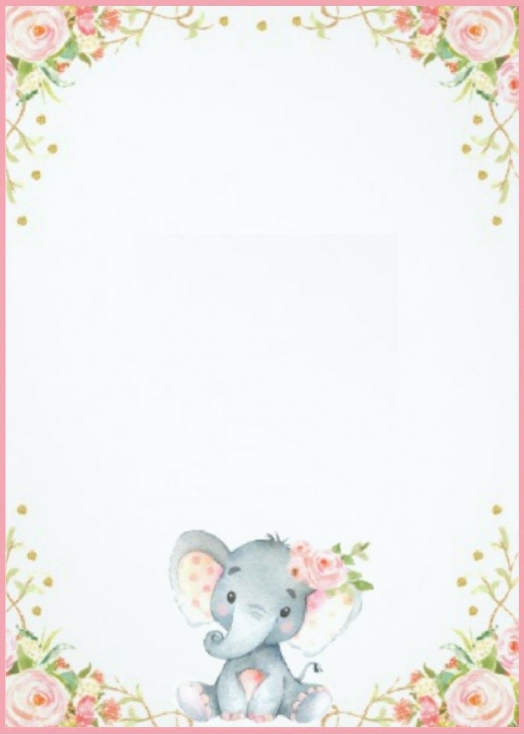 007 Top Elephant Girl Baby Shower Invitation Template Design  Templates PinkLarge