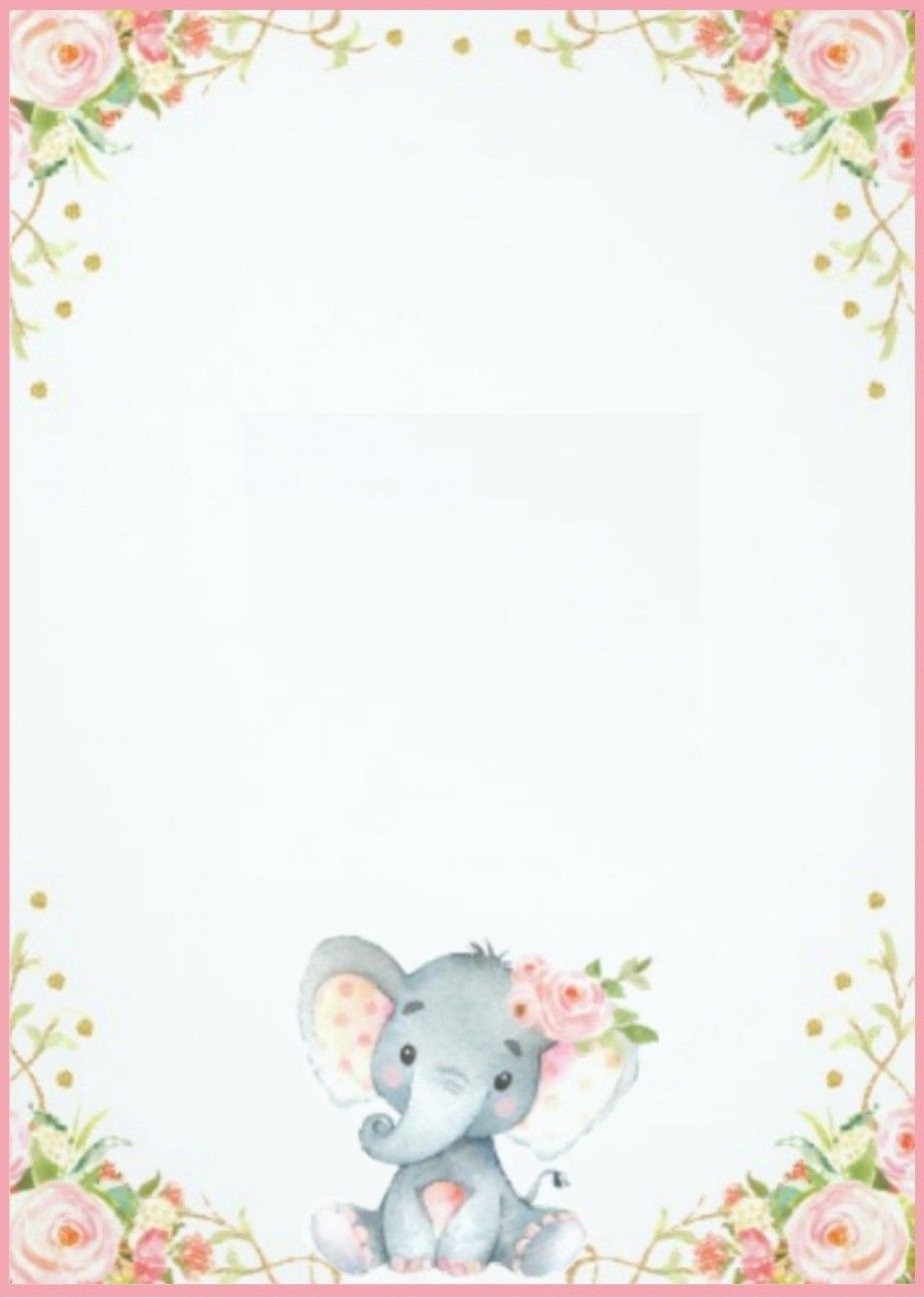 007 Top Elephant Girl Baby Shower Invitation Template Design  Templates Pink1920