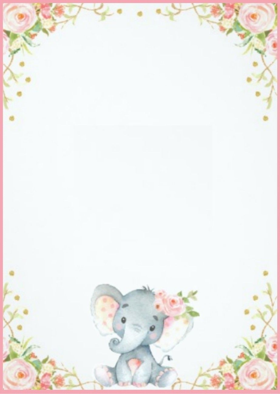 007 Top Elephant Girl Baby Shower Invitation Template Design  Templates PinkFull
