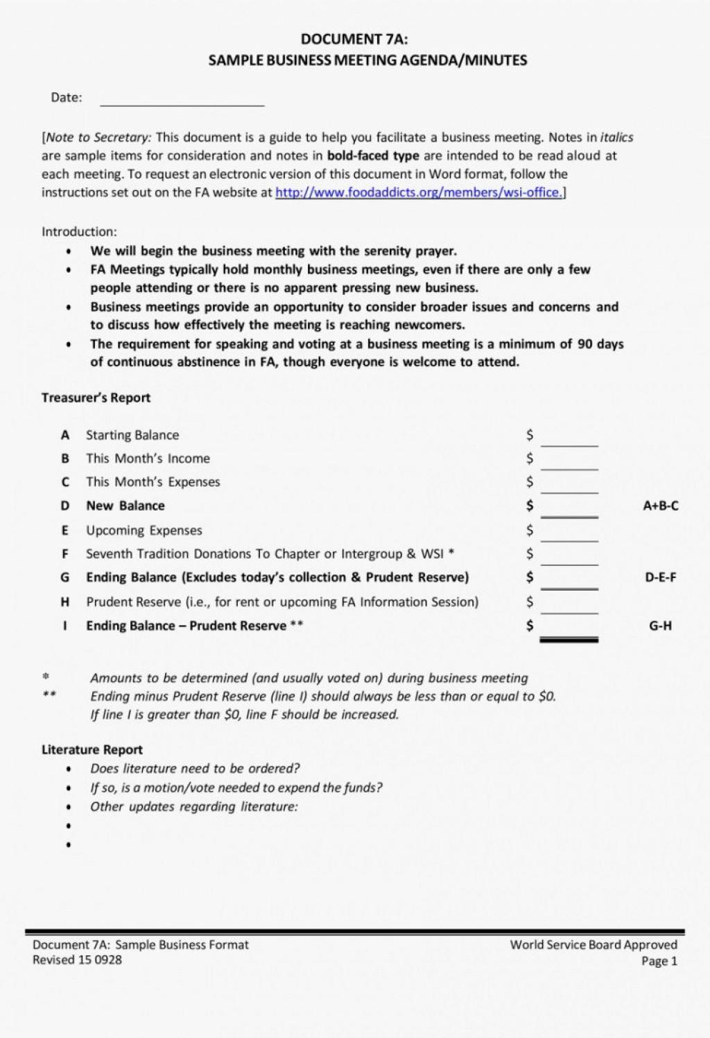 007 Top Formal Meeting Agenda Template Doc Sample Large