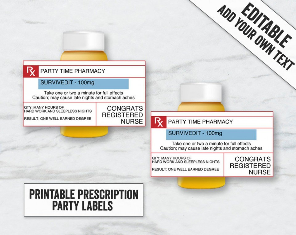 007 Top Free Fake Prescription Label Template Highest Clarity 960