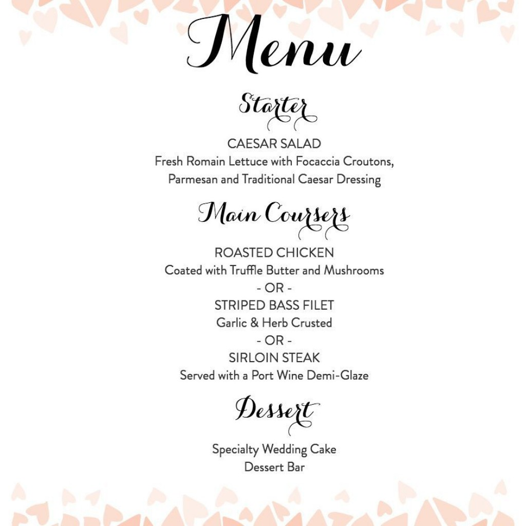 007 Top Free Printable Wedding Menu Card Template Picture Large