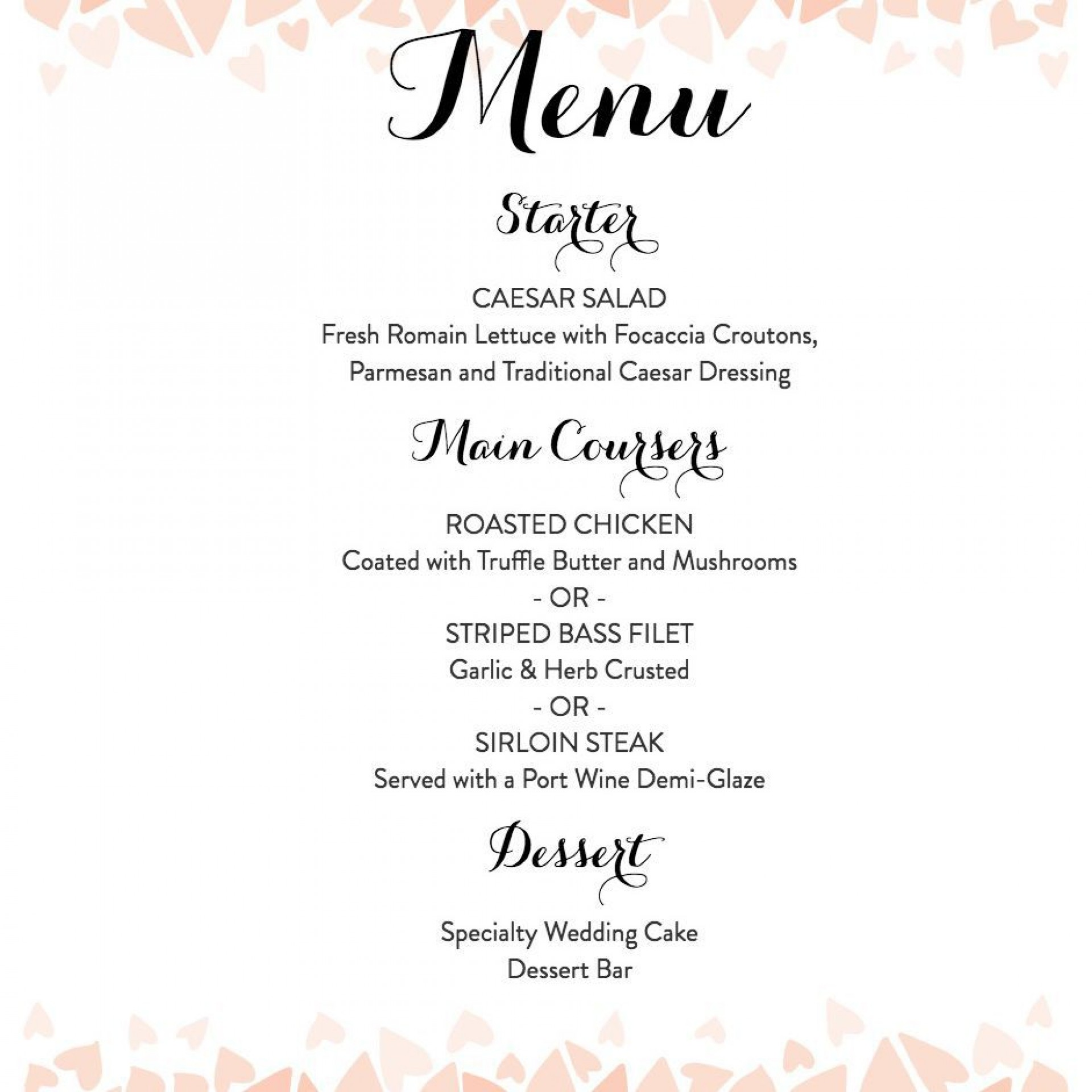 007 Top Free Printable Wedding Menu Card Template Picture 1920