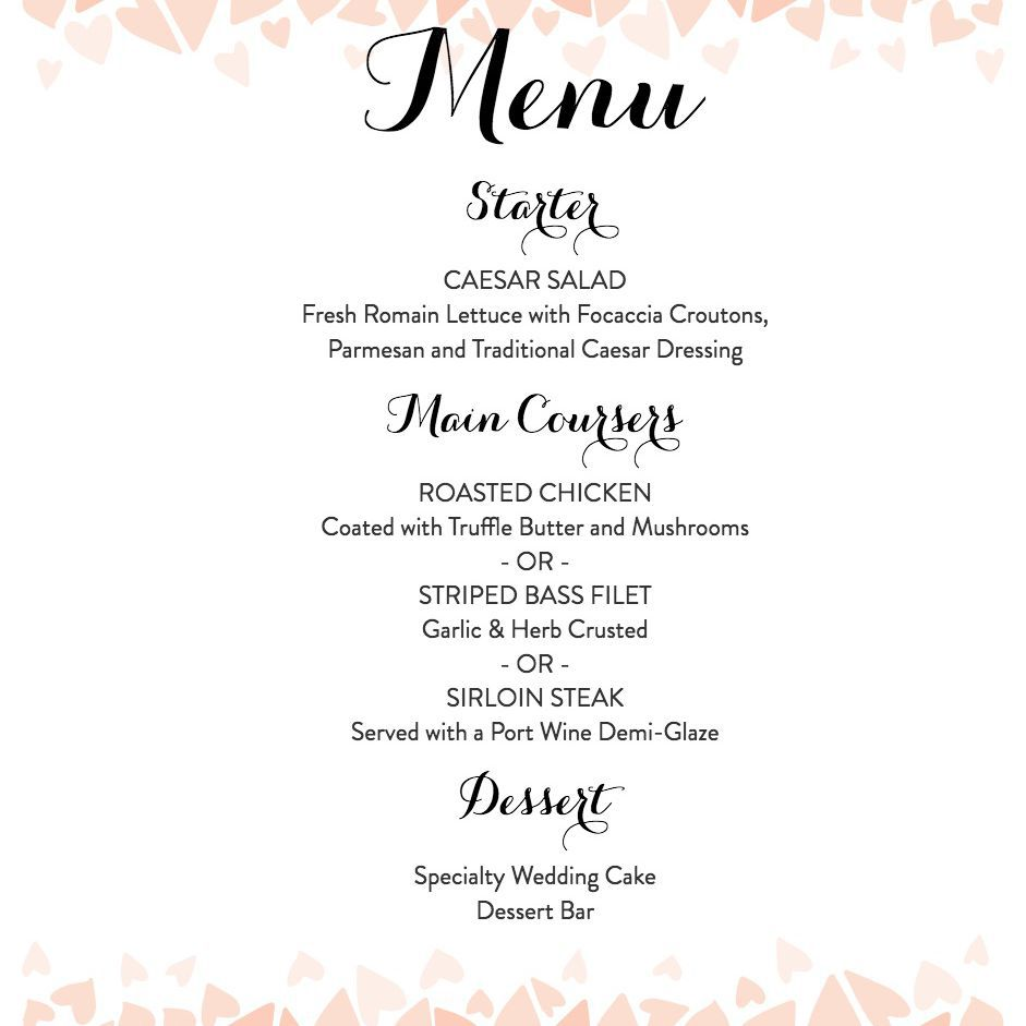 007 Top Free Printable Wedding Menu Card Template Picture Full