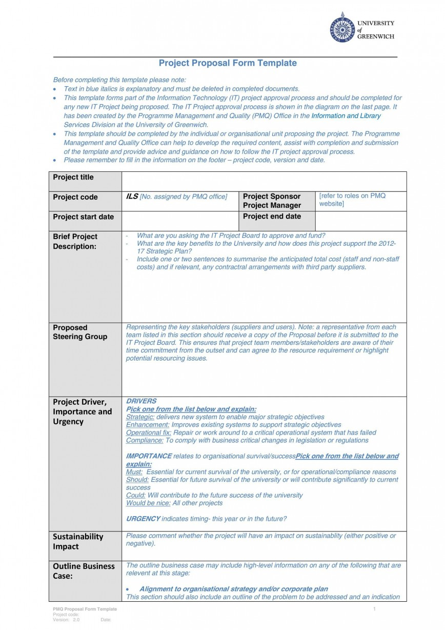 007 Top Free Project Proposal Template Inspiration  Download