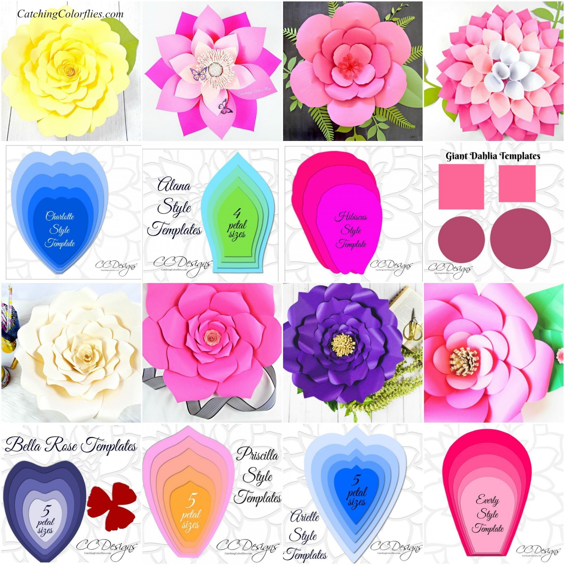 007 Top Large Rose Paper Flower Template Free Picture 1920