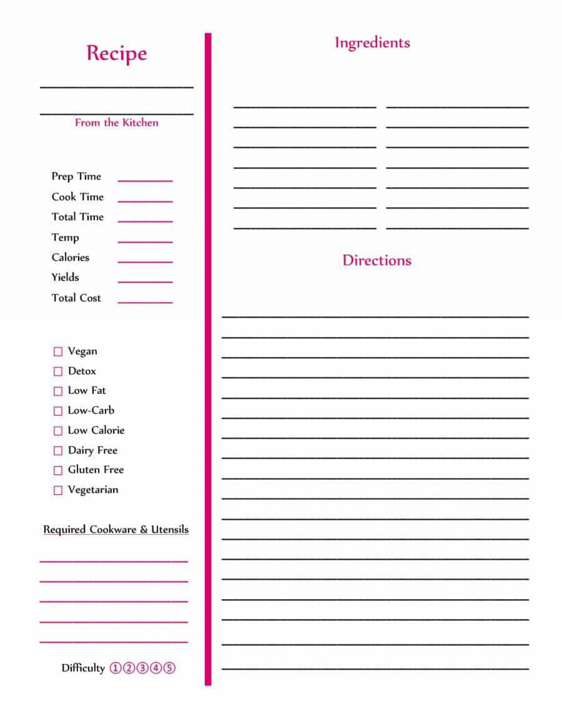 007 Top Make Your Own Cookbook Template Design  Create Free1920
