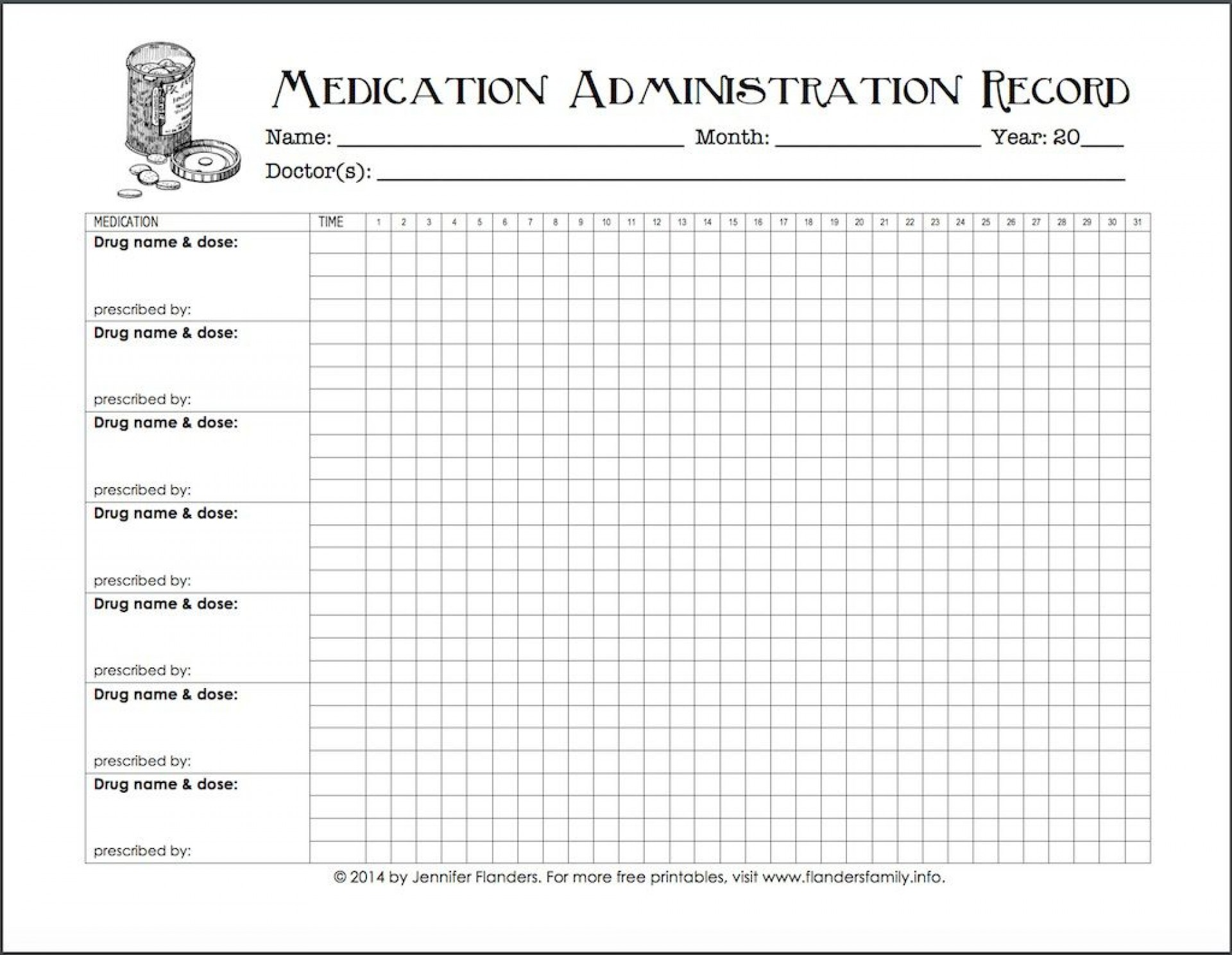 007 Top Medication Administration Record Template Example  Download For Home Use1920