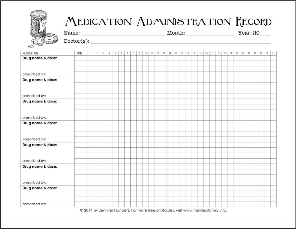 007 Top Medication Administration Record Template Example  Download For Home UseFull