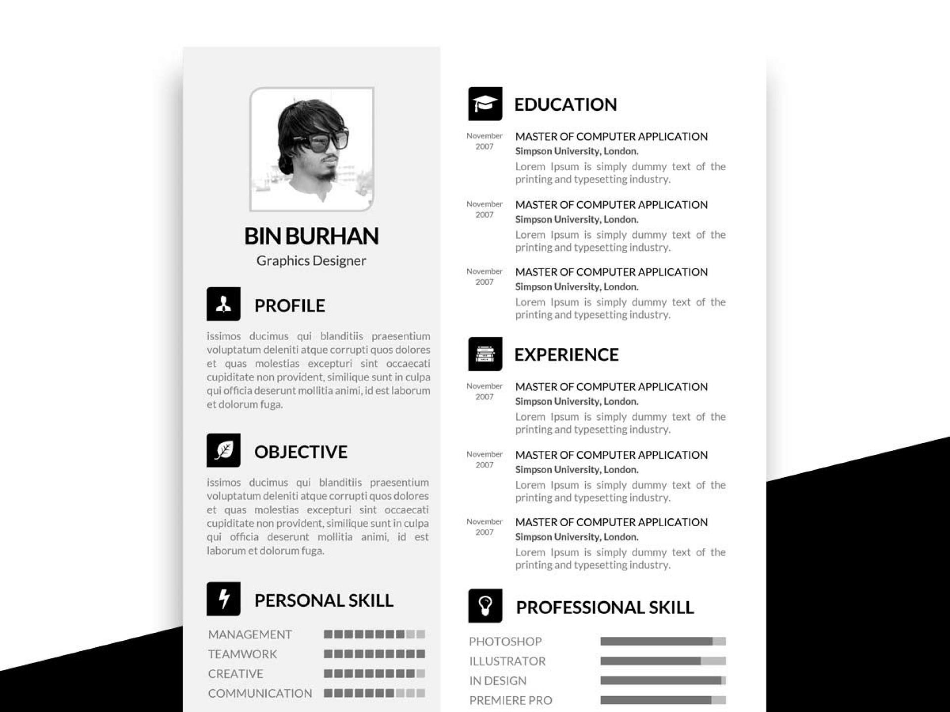 007 Top Psd Resume Template Free Download Photo  Graphic Designer Creative Cv1920