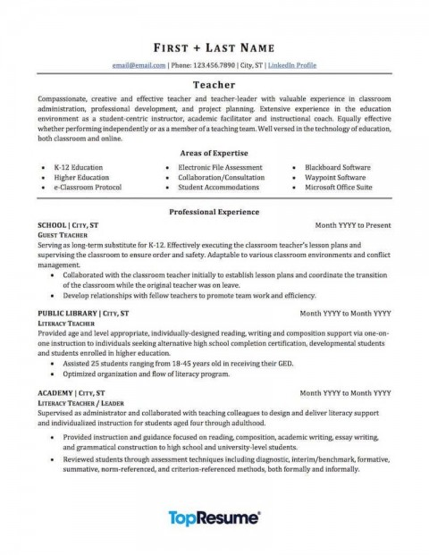 007 Top Resume Example For Teaching Job Concept  Sample Position In College Format480