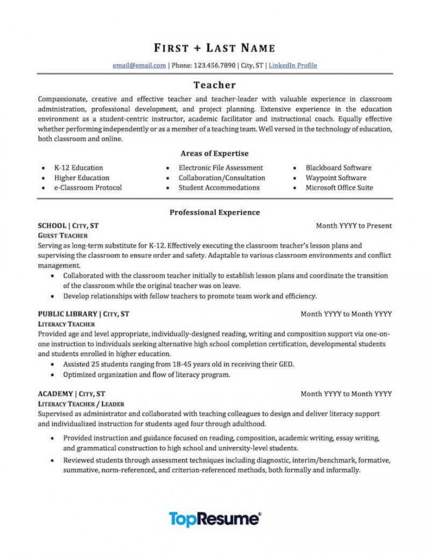 007 Top Resume Example For Teaching Job Concept  Jobs Sample Fresher Teacher Doc Position In College