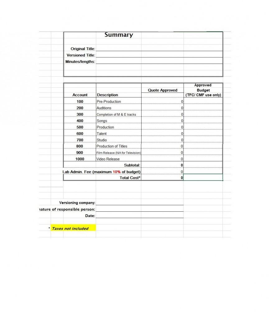 007 Top Short Film Budget Template Idea  Breakdown Pdf Excel