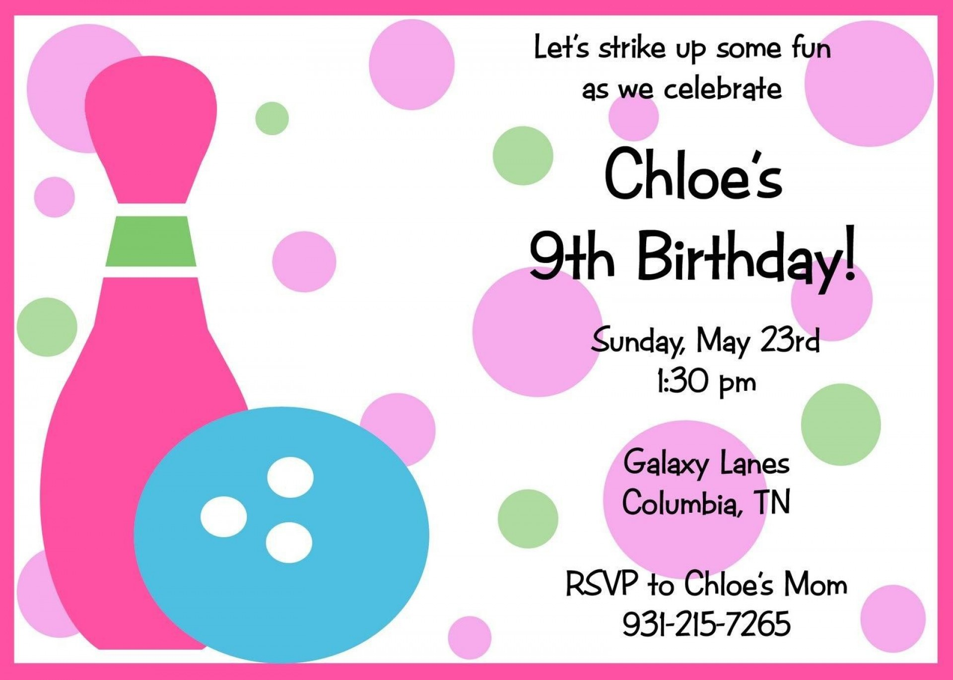 007 Unbelievable Bowling Party Invite Printable Free Inspiration  Birthday Invitation1920