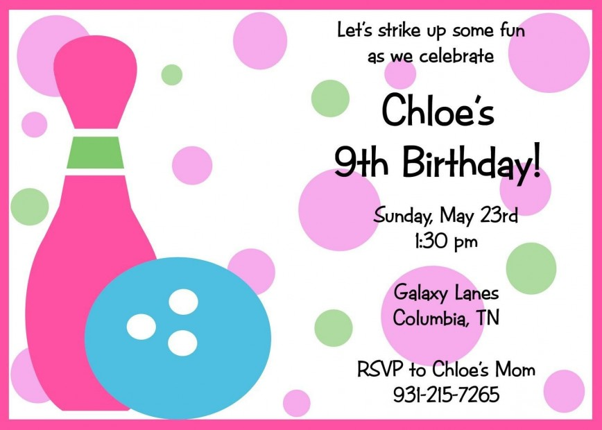007 Unbelievable Bowling Party Invite Printable Free Inspiration  Birthday Invitation868