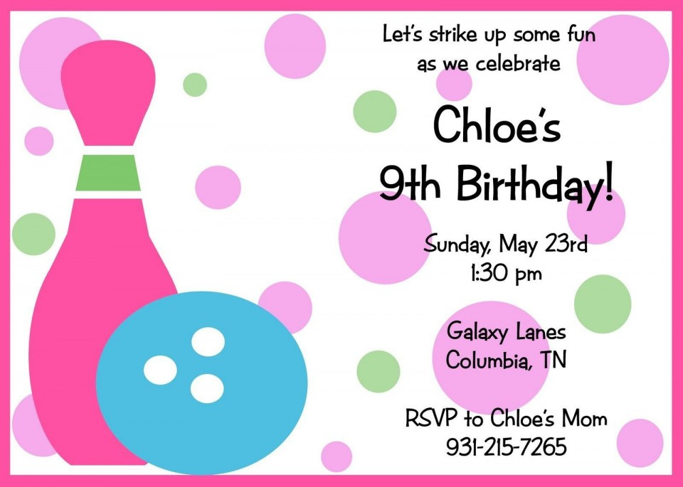 007 Unbelievable Bowling Party Invite Printable Free Inspiration  Birthday Invitation960