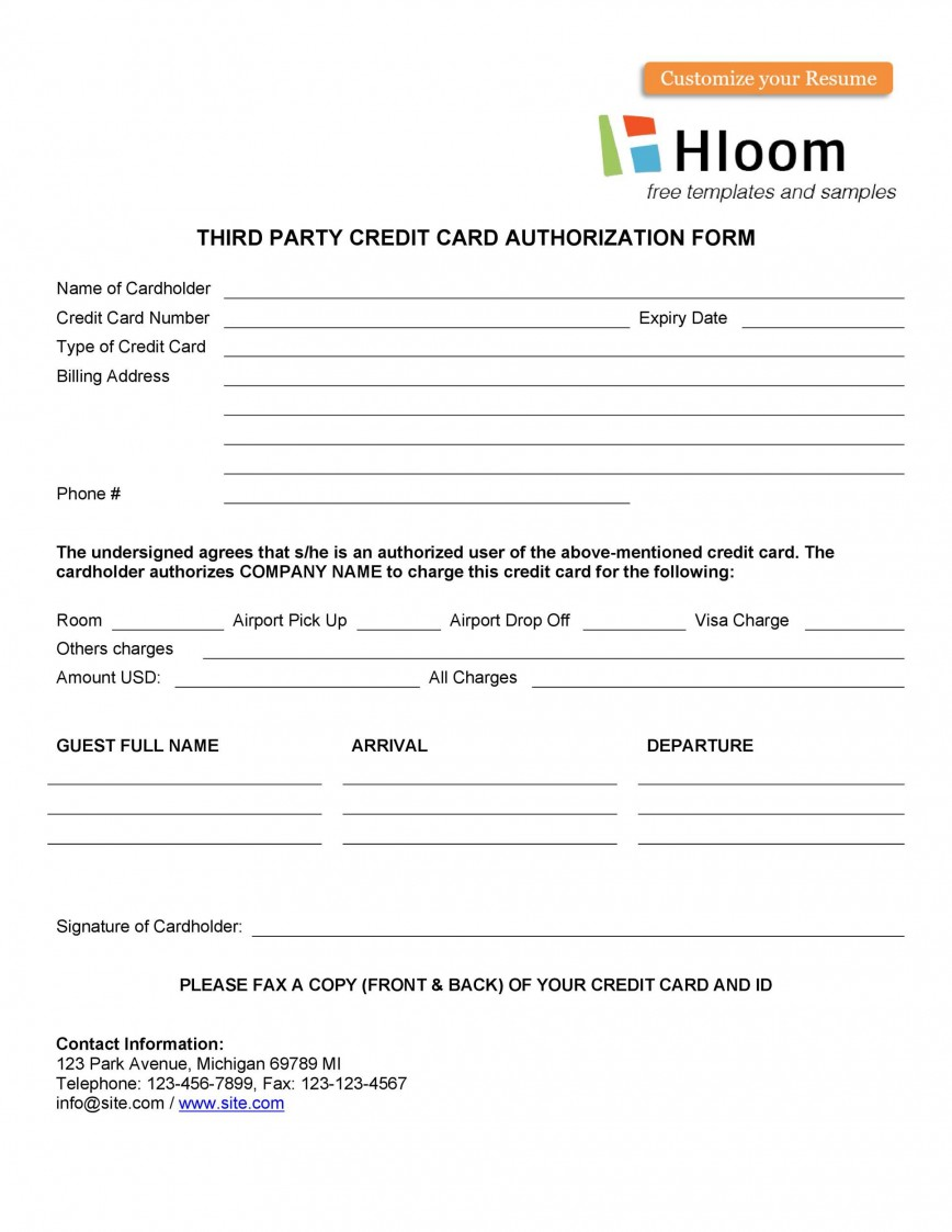 007 Unbelievable Credit Card Usage Request Form Template Sample 868