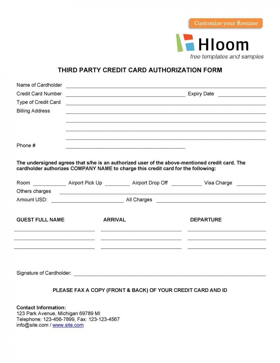 007 Unbelievable Credit Card Usage Request Form Template Sample 960