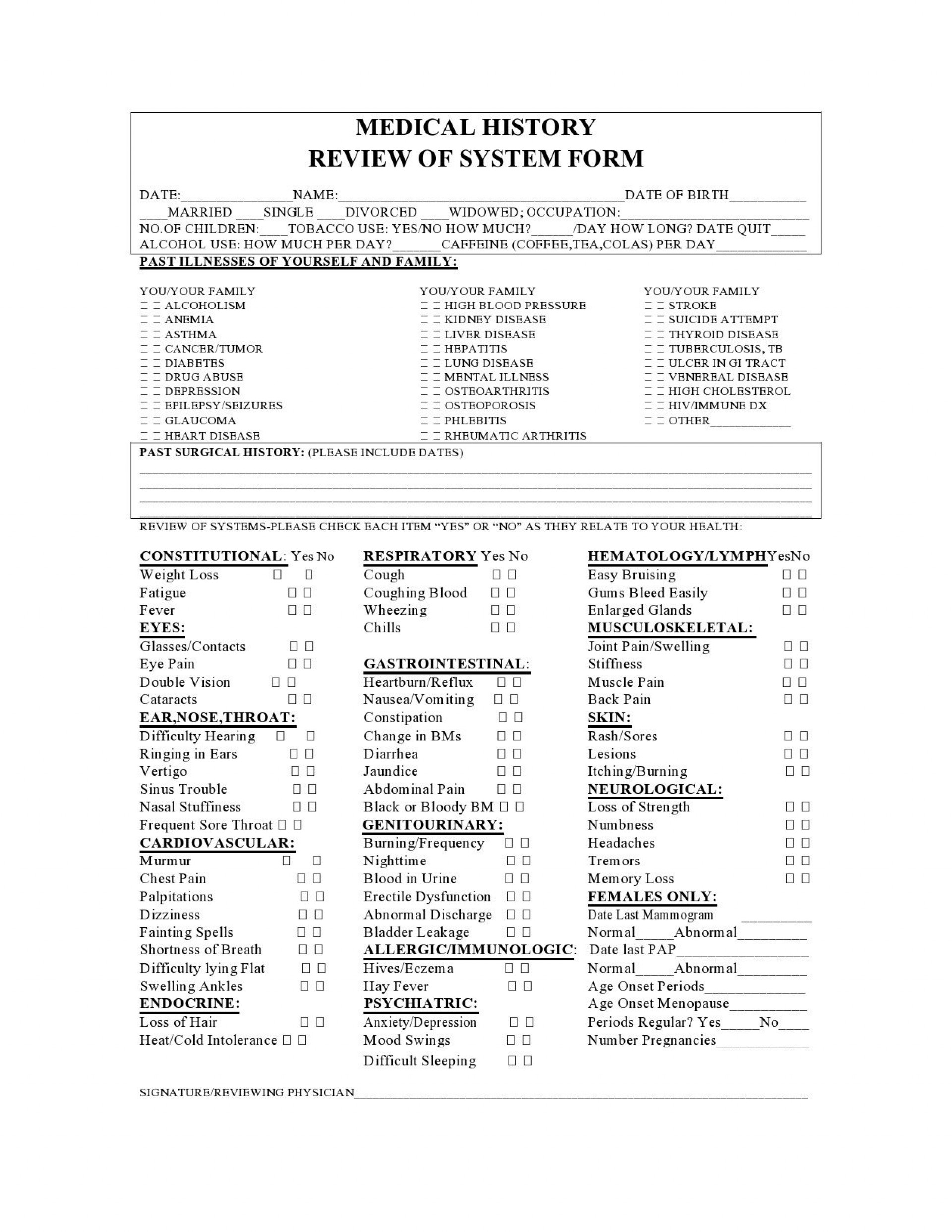 007 Unbelievable Family Medical History Template Free High Definition  Questionnaire1920