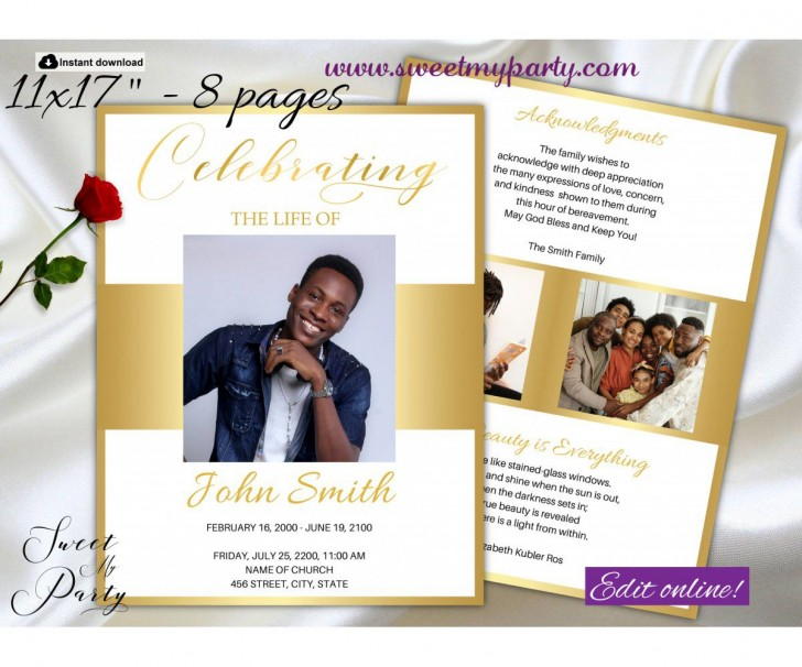 007 Unbelievable Free Celebration Of Life Program Template Download Picture 728