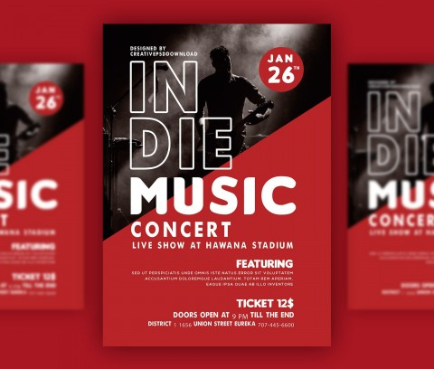007 Unbelievable Free Concert Poster Template High Definition  Rock Psd Christma Photoshop480