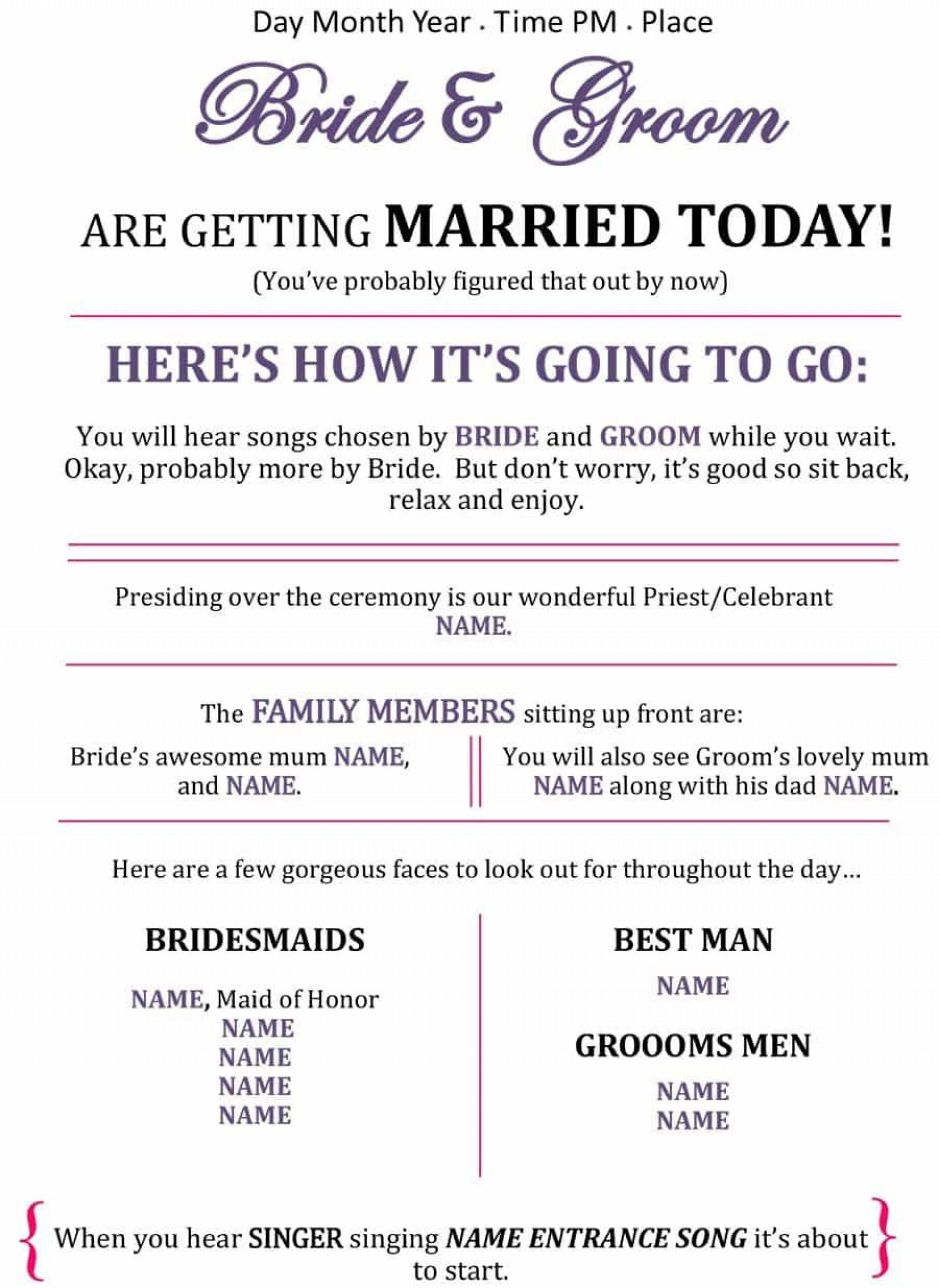 007 Unbelievable Free Wedding Program Template For Word Photo  Download Fan Microsoft Downloadable Reception1920