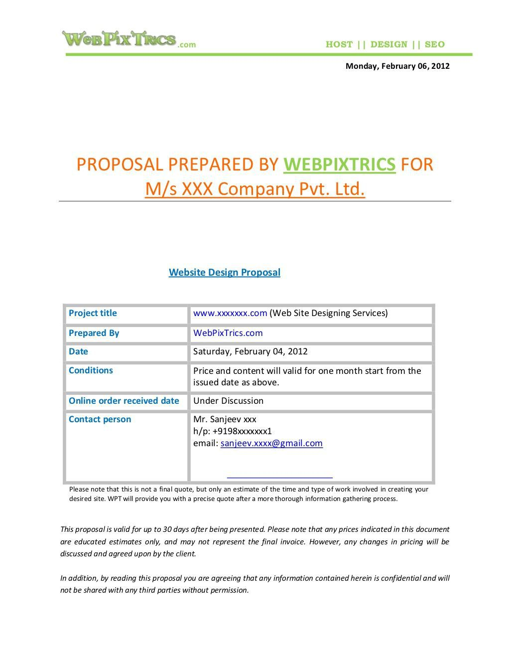 007 Unbelievable Freelance Website Design Proposal Template High Def Full