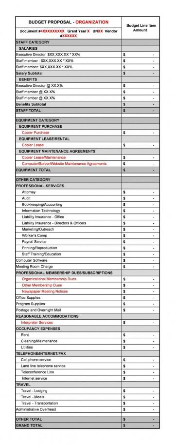 007 Unbelievable Line Item Budget Sample Image  Church For Grant Proposal Format360