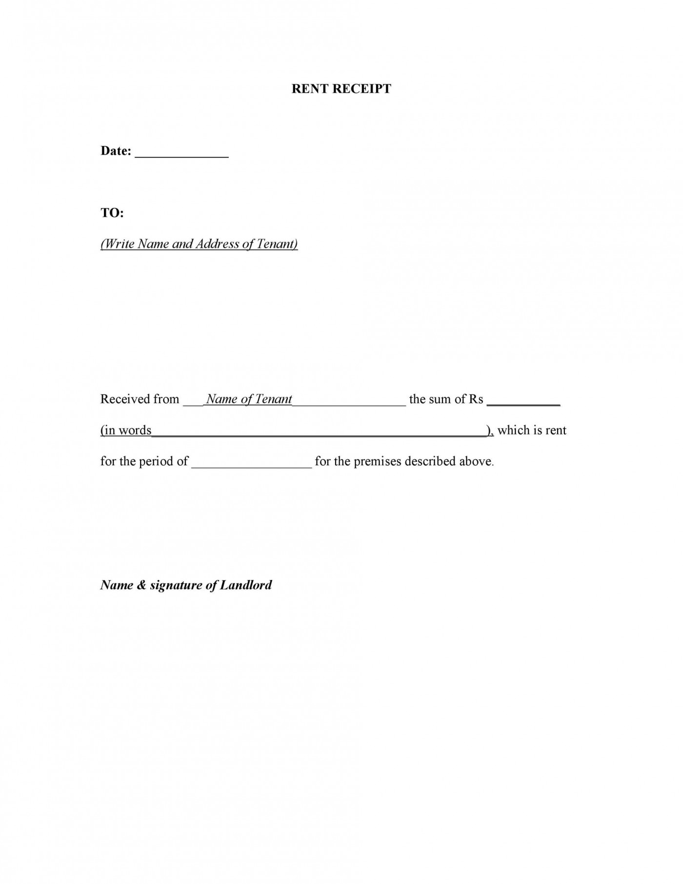 007 Unbelievable Rent Receipt Sample Doc High Definition  Format Free Download Word India1400