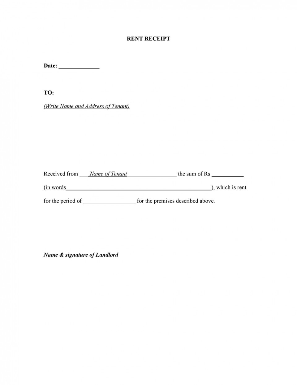 007 Unbelievable Rent Receipt Sample Doc High Definition  Template India Format Free Download960