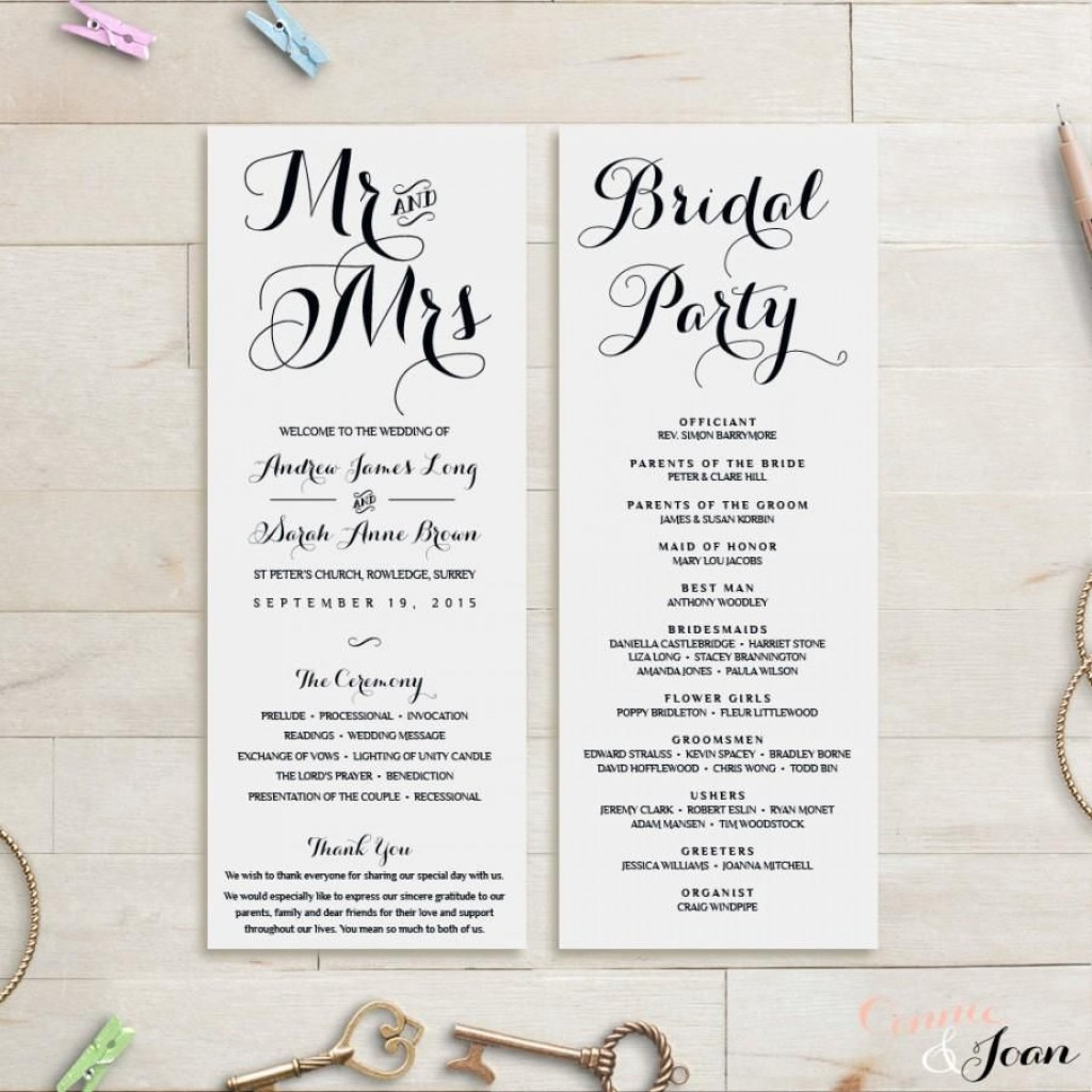 007 Unbelievable Wedding Order Of Service Template Concept  Church Free Microsoft Word DownloadLarge