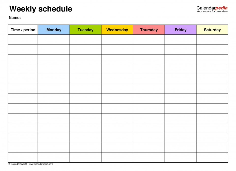 007 Unbelievable Weekly Schedule Template Pdf Concept  Employee Free Work Lesson Plan Format960