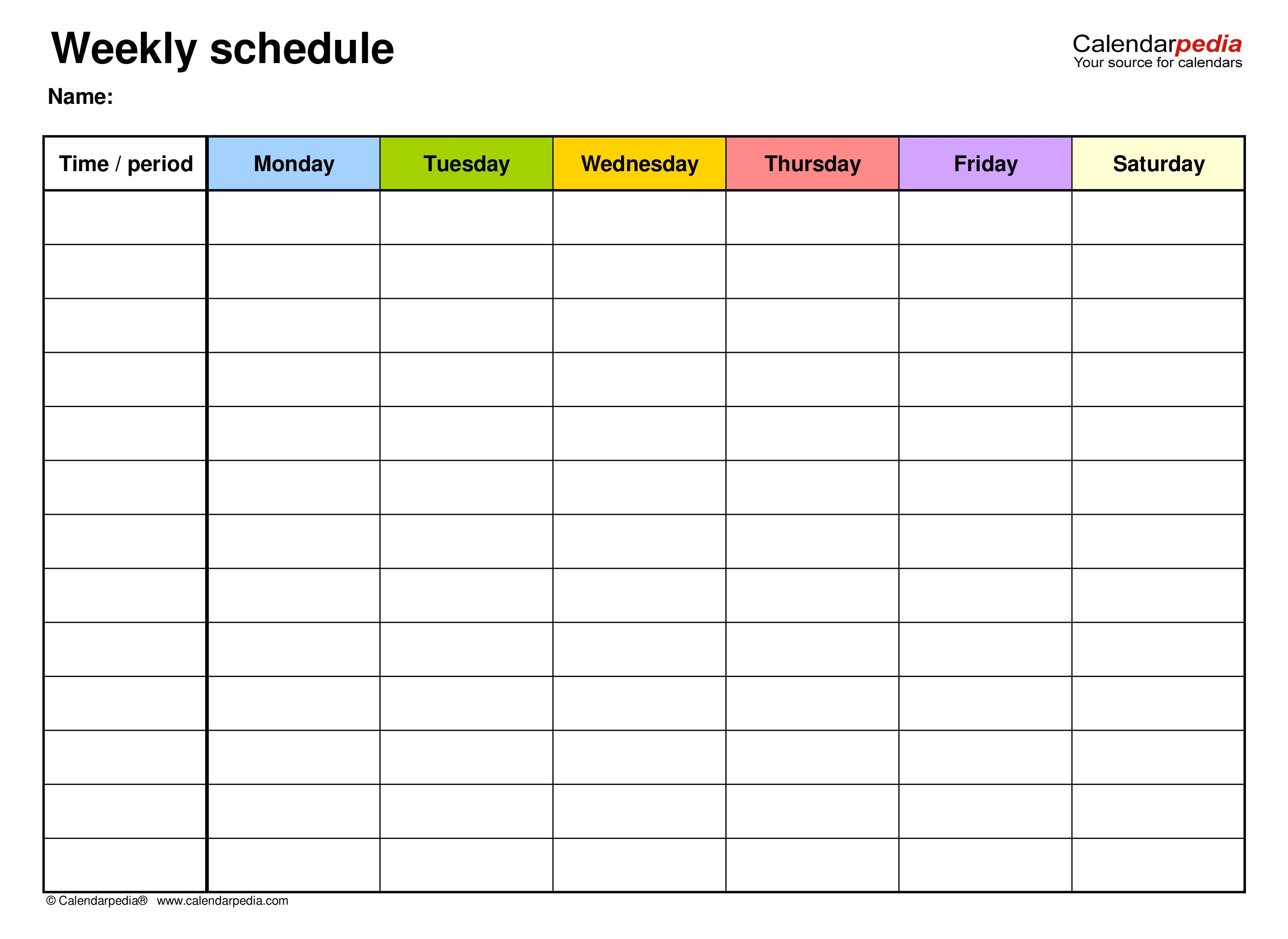 007 Unbelievable Weekly Schedule Template Pdf Concept  With Time Study WorkFull