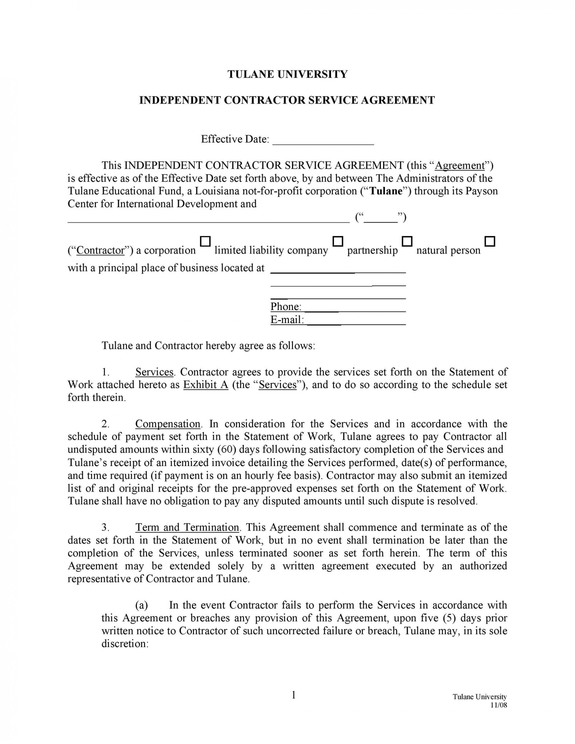 007 Unforgettable Busines Service Contract Template Sample  Small Agreement1920