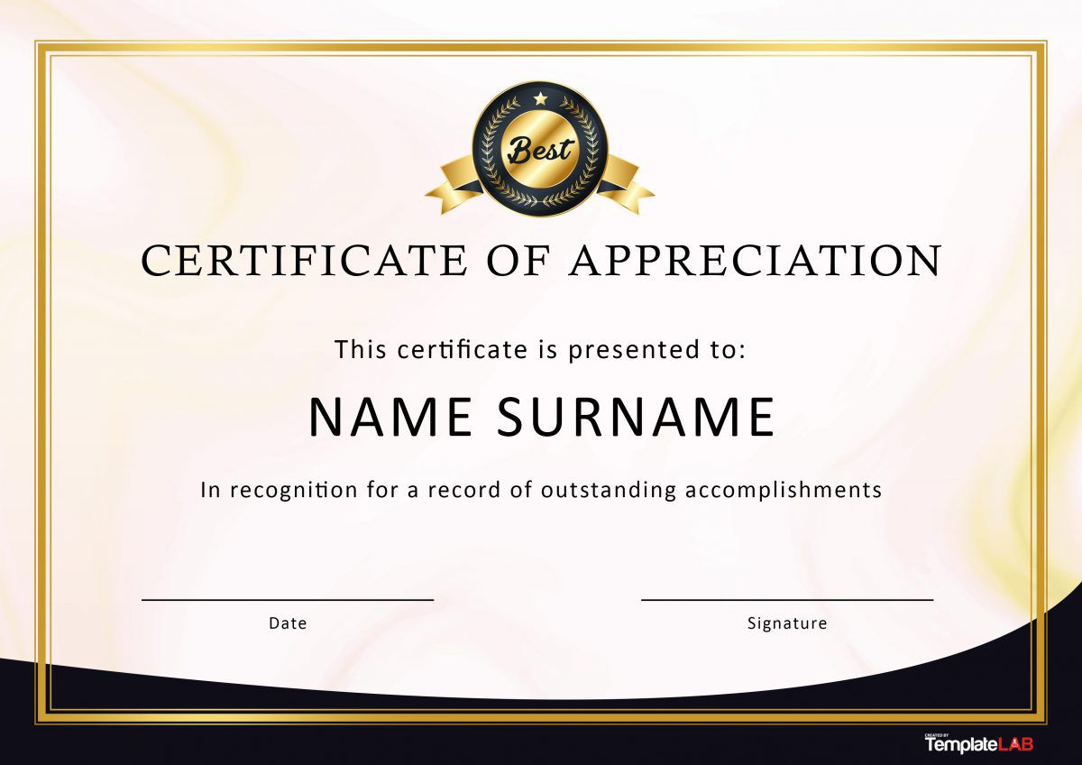 007 Unforgettable Certificate Of Appreciation Template Free Sample  Microsoft Word Download Publisher EditableFull
