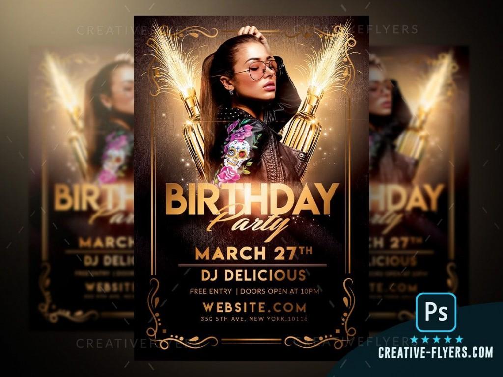 007 Unforgettable Free Birthday Flyer Template Psd Idea  Foam Party - Neon Glow Download PoolLarge