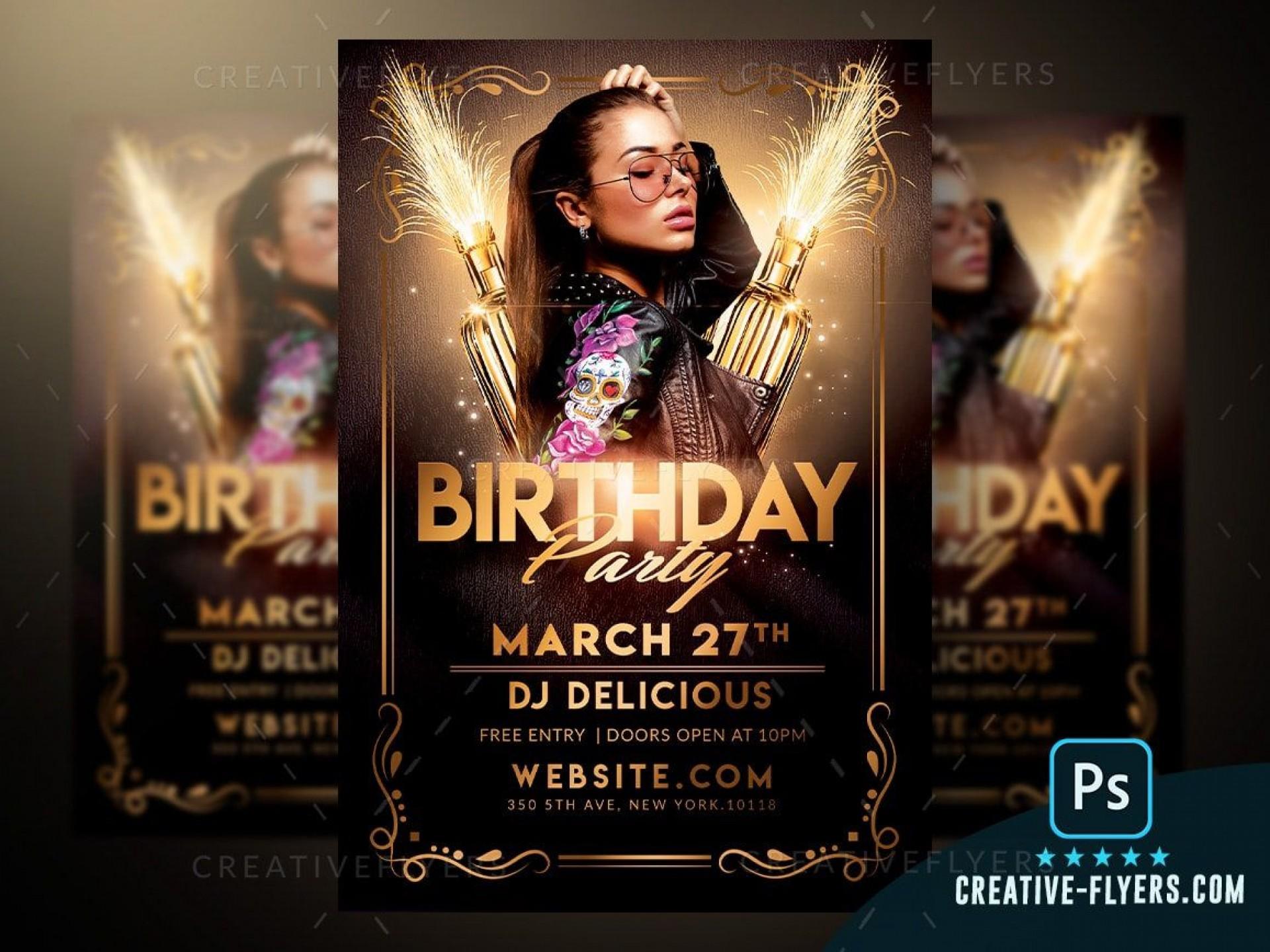 007 Unforgettable Free Birthday Flyer Template Psd Idea  Foam Party - Neon Glow Download Pool1920