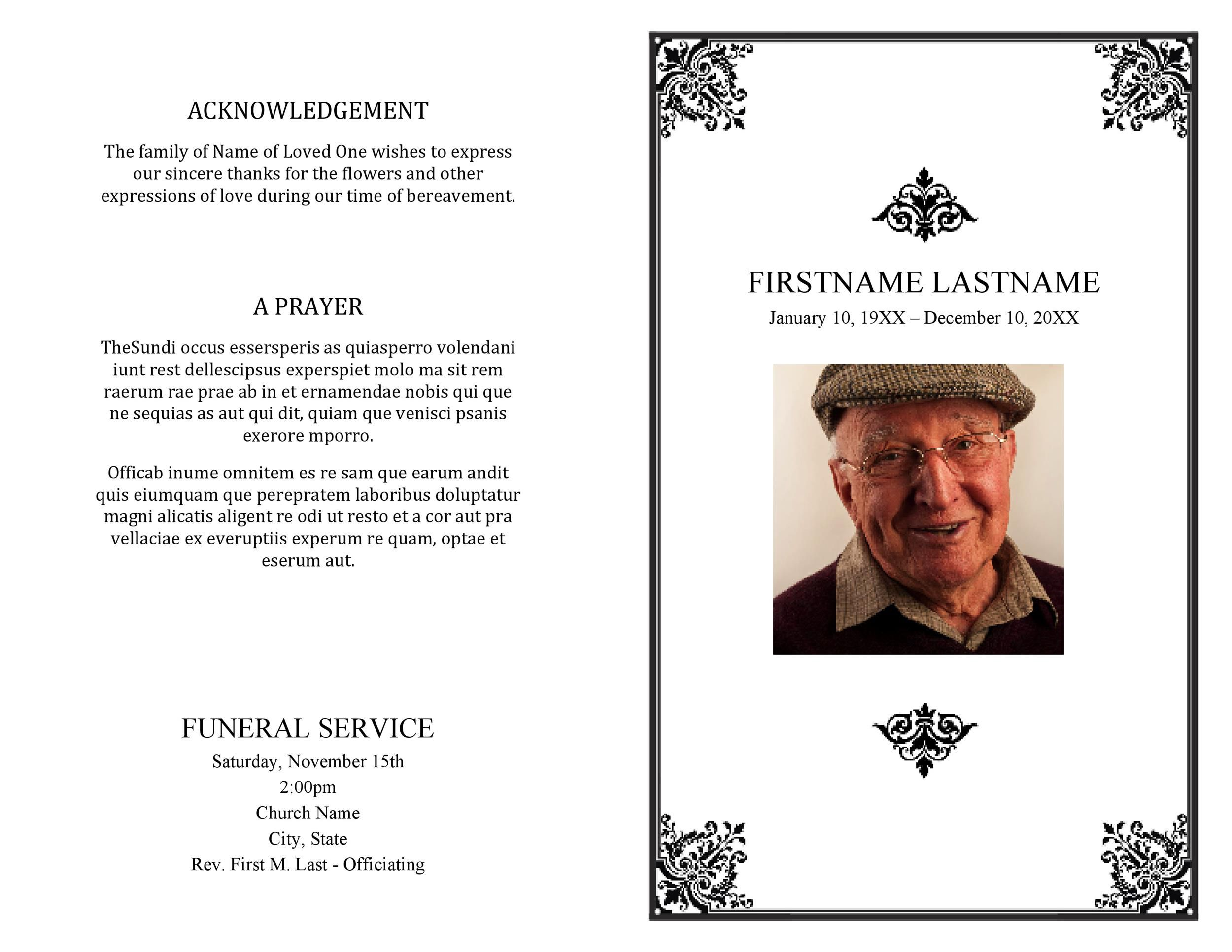 007 Unforgettable Free Funeral Program Template Download Photo  2010 Downloadable Editable Pdf BlankFull