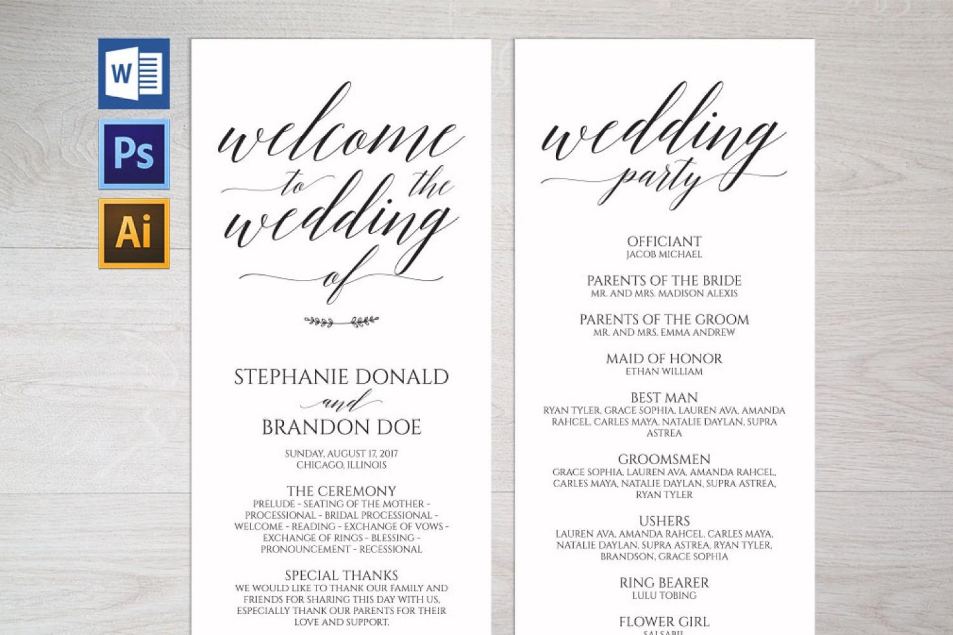 007 Unforgettable Free Wedding Program Template Design  Templates Pdf Download Fan Word1920