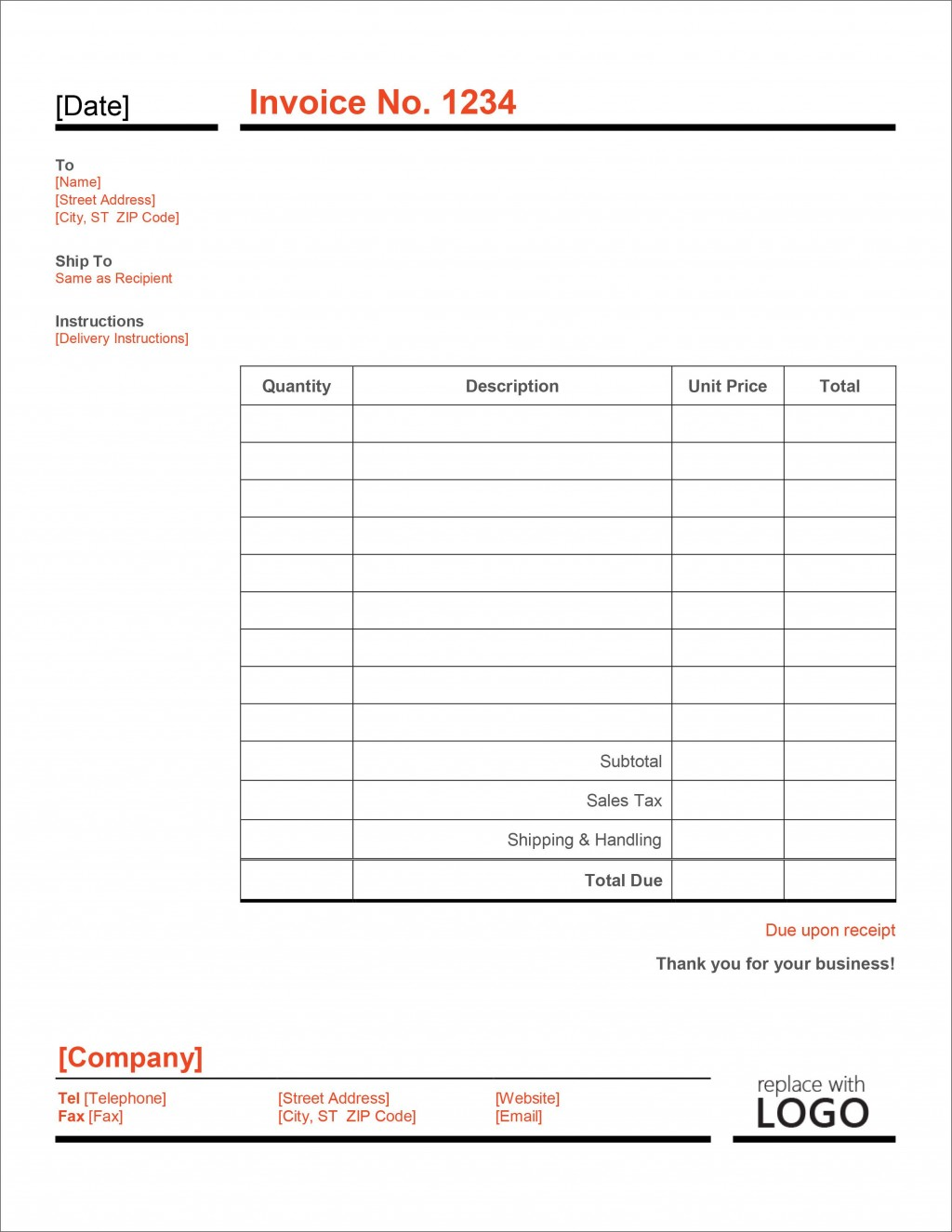 007 Unforgettable Microsoft Excel Invoice Template Free Sample  Download ServiceLarge