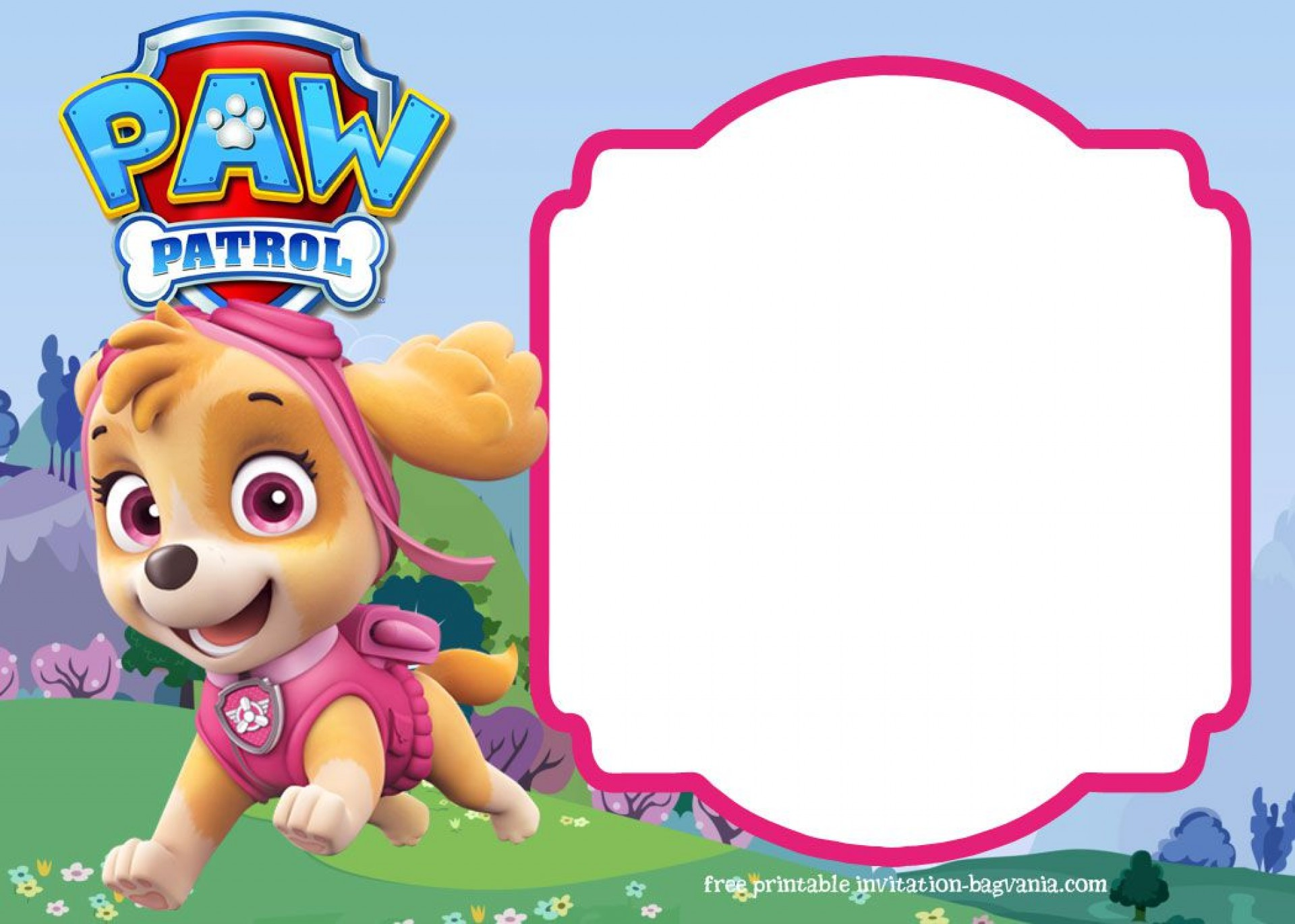 007 Unforgettable Paw Patrol Birthday Invitation Template Highest Quality  Party Invite Wording Skye Free1920
